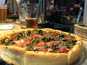 Chicago-style deep dish pizza and craft beer at Kanda's Devilcraft.