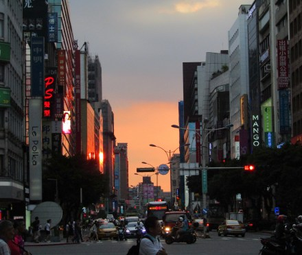 The sun setting in the Zhongshan neighborhood of Taipei. This was taken near the subway station by our hotel as we ventured out for our last night in Taipei.