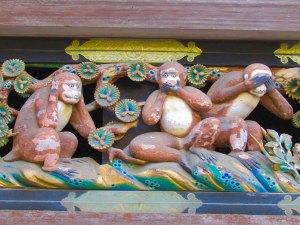 "The three wise monkeys (sanzaru) at Tōshō-gū Shrine remind us to ""see no evil, hear no evil, speak no evil"""