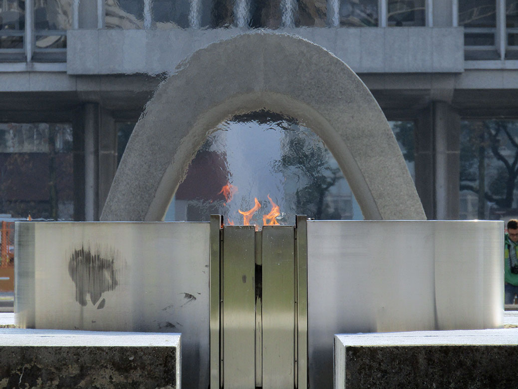 """The Peace Flame has burned continuously since August 1, 1964 and will continue to burn """"until the day when all such weapons shall have disappeared from the earth"""""""