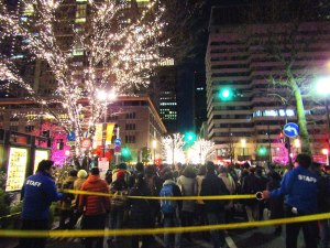 Crowd control at the Tokyo Station illuminations. We were herded in groups from the station exit to the viewing area.