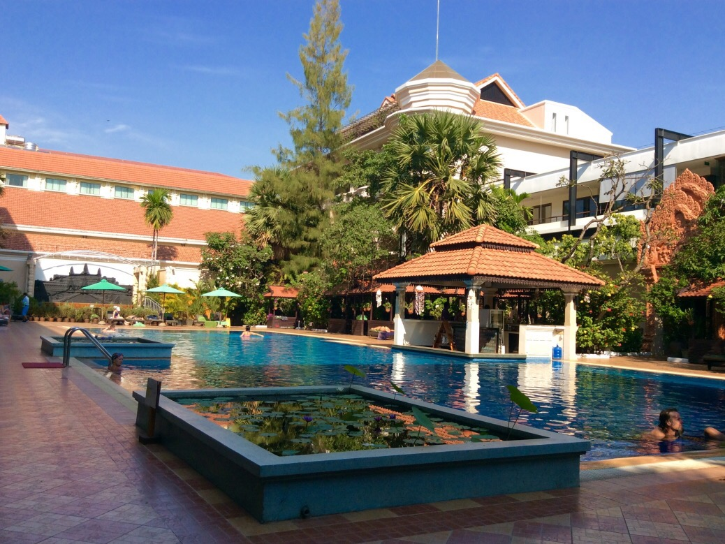 Sunday is the day of rest, especially for these weary travelers. We spent much of day 4 alongside the pool at Somadevi Angkor Hotel and Spa. Just a few bucks will get you full access to the pool, lounge and swim-up bar.