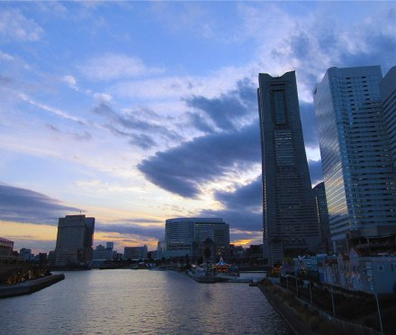 Yokohama's iconic Landmark Tower at dusk