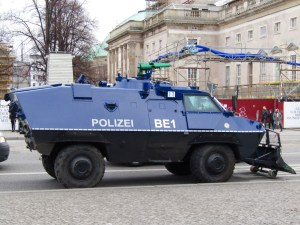 A police tank in Berlin's Museum Island district. Hundreds of police vehicles and officers patrolled the streets due to a visit from Israeli Prime Minister Benjamin Netanyahu. As a result, many sights were inaccessible as Netanyahu and his entourage visited the area.