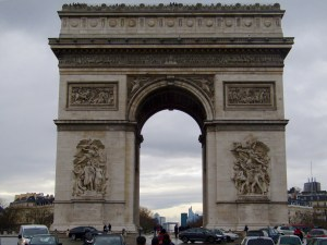 Photos of the Arc de Triomphe are always tightly cropped because it sits in one of Paris's busiest intersections. All our photos are filled with cars and white delivery vans!