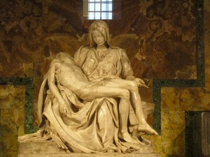 Inside St. Peter's Basilica, Michelangelo's Pietà shows the body of Jesus laid across his mother's lap following the crucifixion.