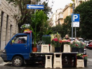 A flower truck parked near Via dei Gracchi on Rome's north side.