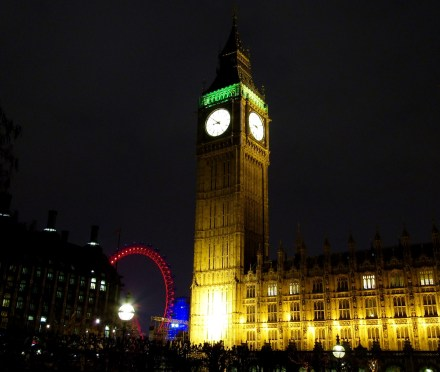 Big Ben, Westminster Palace and the London Eye.