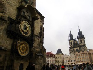 The astrological clock and the Church of Our Lady before Tyn in Prague's Old Town Square.