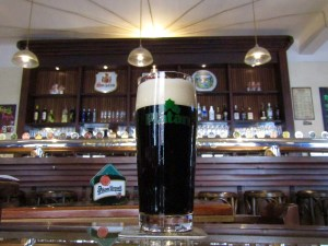 Merlin, a black lager, at the Prague Beer Museum. Na zdravi! To your health!