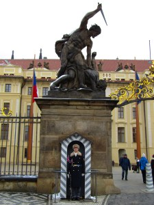One of the two guards at the west gate of Prague Castle. Who would want to try and attack this place?!