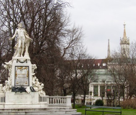 A statue of Mozart in the Hofburg Palace gardens.
