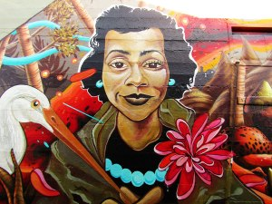 Part of a mural on the side of the Black United Fund of Oregon building shows Ruby Dee, an actress as equally famous for her civil rights activism as she was for her art.