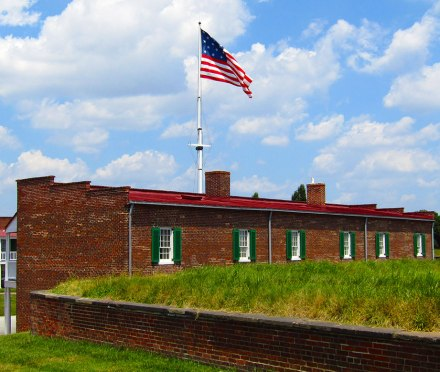 Looking back toward Fort McHenry from the cannon mounts near the Patapsco River.
