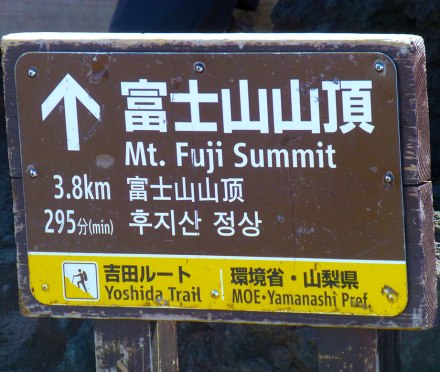 A sign pointing toward the trail to Mount Fuji's summit.