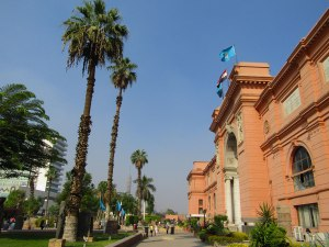 View from the side of the museum and its gardens. Can you spot the Cairo Tower?