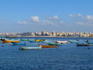 Are we still in Egypt? The slanted building to the right is the Bibliotheca Alexandrina.