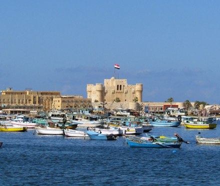 View of the Qaitbay Citadel on Alexandria's Mediterranean coast.