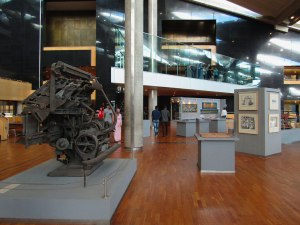 Art and exhibits, including a linotype machine created by the 'second Gutenberg' Ottmar Mergenthaler.