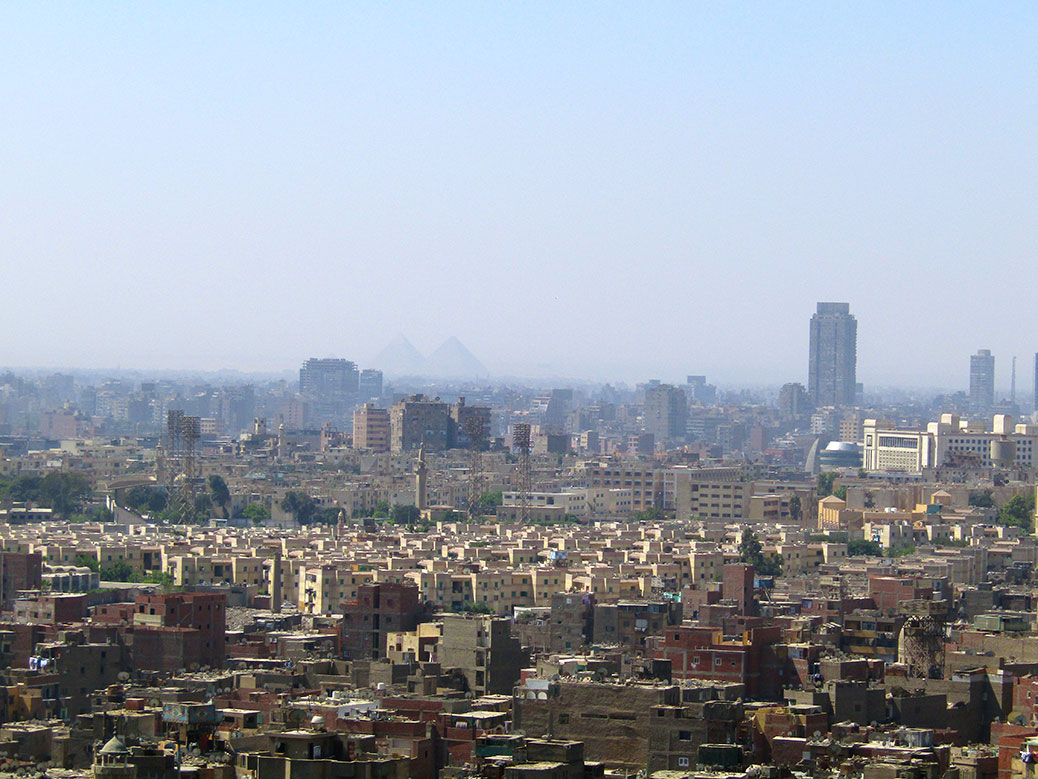 Views of Cairo from the top of the Citadel. Can you spot the two largest Pyramids of Giza in the haze?