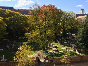 A view of the Christ Church Burial Ground from a window in the U.S. Mint building. Benjamin Franklin is the cemetery's most famous occupant