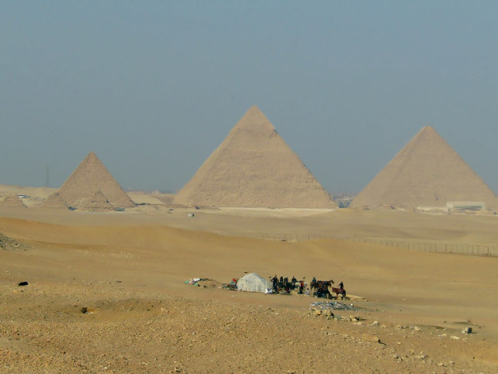 The three largest Pyramids of Giza and the three smaller ones on the left are the Pyramids of the Queens.