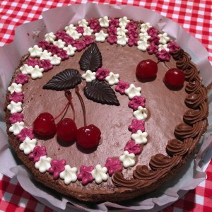 """""""Cherry Queen"""" cake from the Roshen store. It was sort of like a Black Forest cake."""