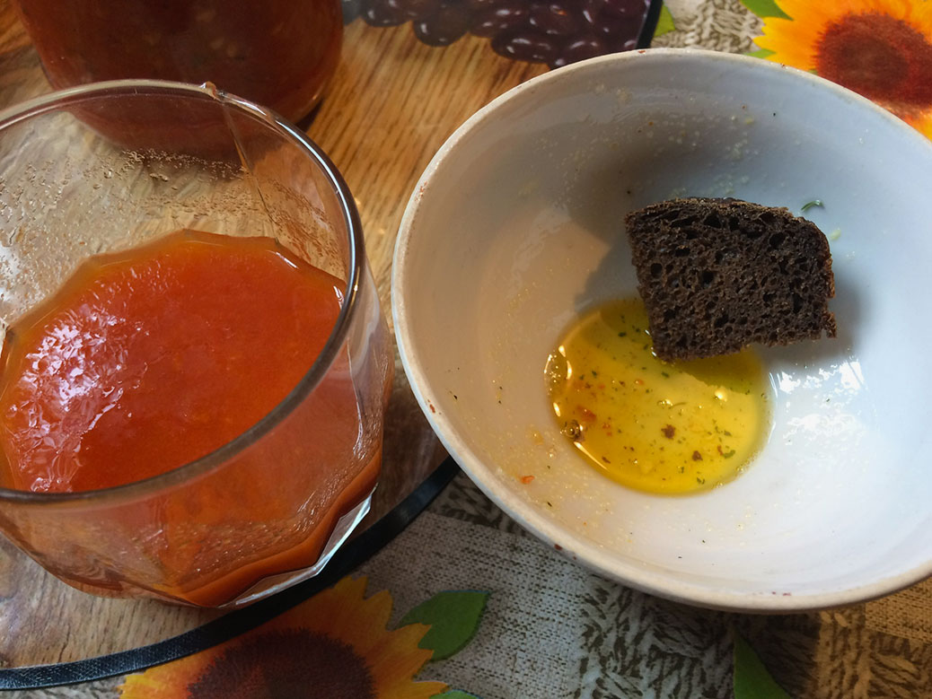 This was one of my favorite things I ate: home-canned tomato juice, black bread and a sprinkle of seasoning salt in unrefined sunflower oil. The oil was so thick and had a flavor of its own. Ukraine is one of the world's largest sunflower oil producers.