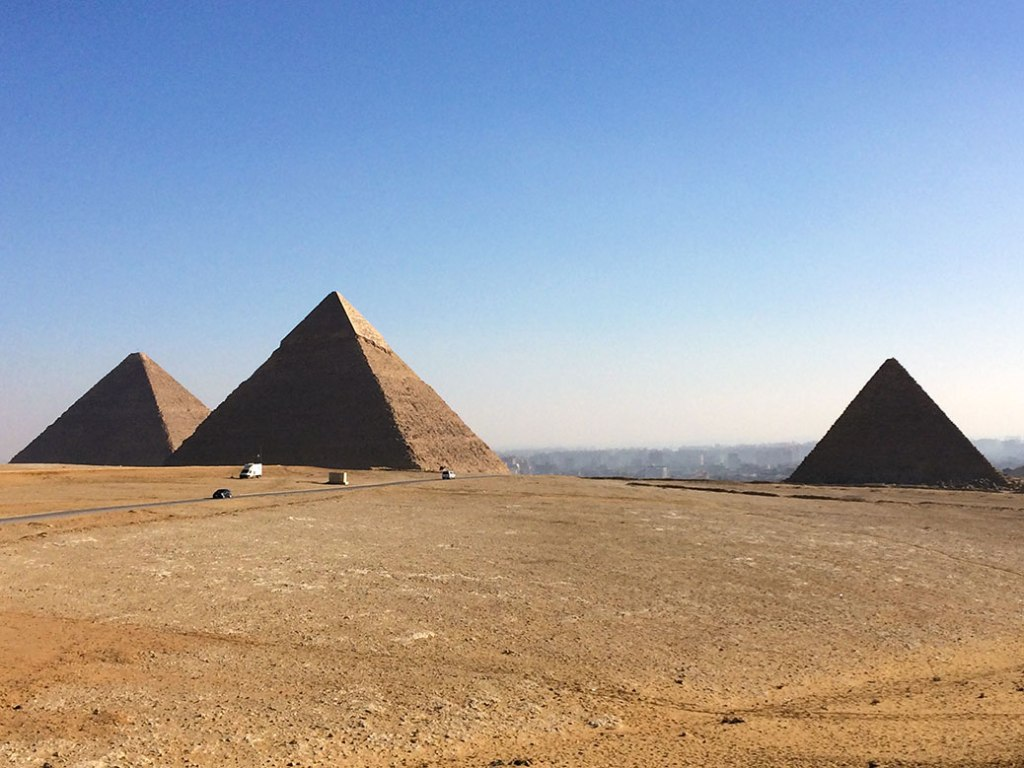 View of the three main pyramids from a northwest viewpoint.