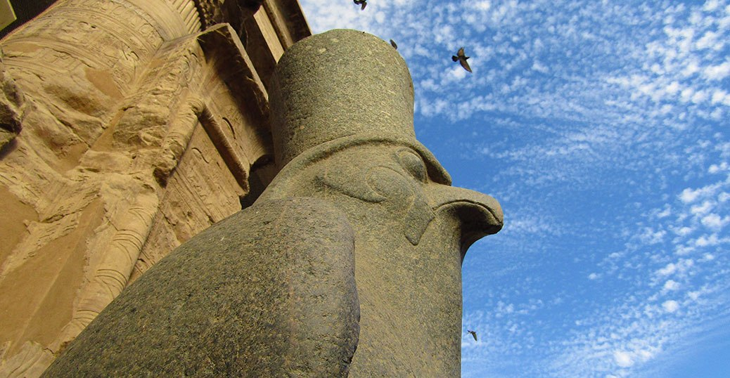 The statue of Horus at Edfu temple.