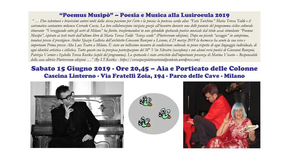 """15 giugno: """"Poemus Musipò – Poesia e Musica alla Lusiroeula 2019"""""""