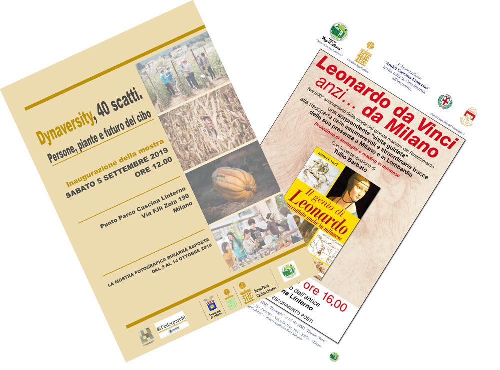 """5 ottobre: Dynaversity e Leonardo (""""Dynaversity, 40 scatti – persone, piante e futuro del cibo"""" e """"Il genio di Leonardo raccontato anche in Milanese"""")"""