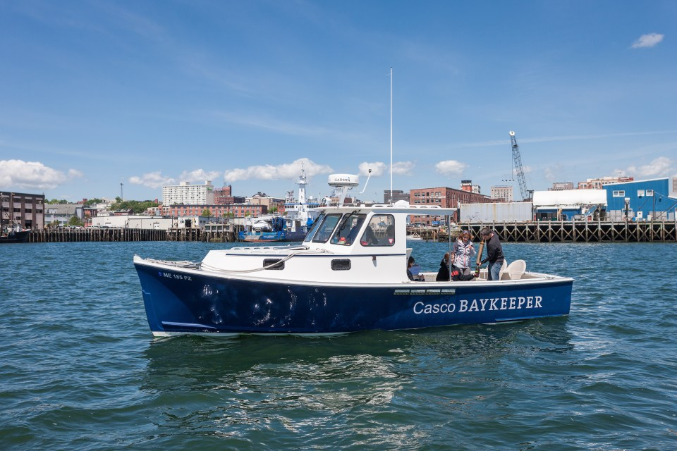 Friends of Casco Bay Water Quality Sampling on the Baykeeper Boat.