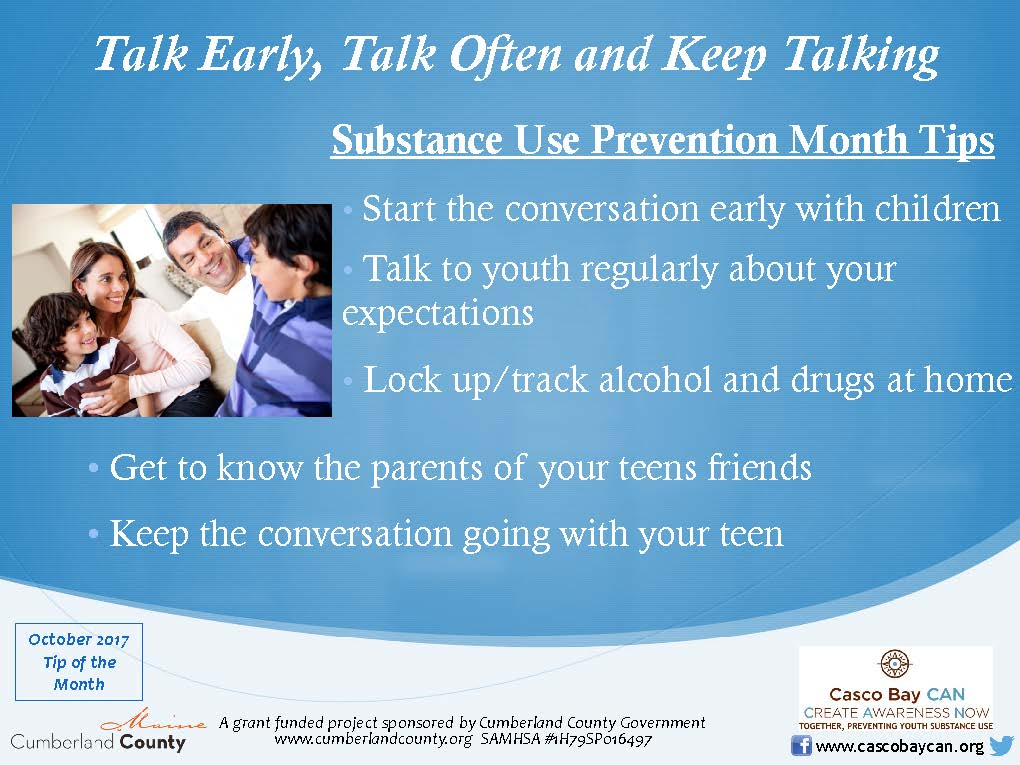 Start Conversations Early About Drugs >> Monthly Tips Archives Page 3 Of 5 Casco Bay Can Casco Bay Can