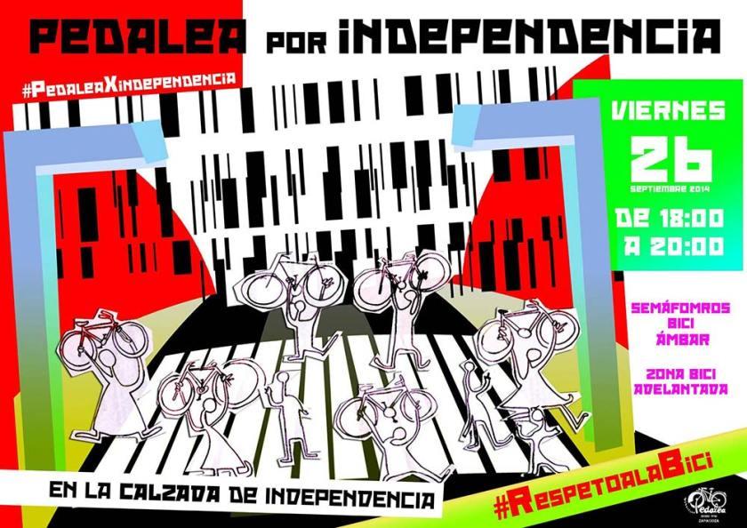 Pedelea por Independencia. Viernes 26, Pso. Independencia, de 18:00h a 20:00h