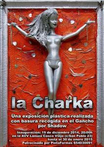 Exposición La Charka. Realizada con basura recogida en el Barrio del Gancho