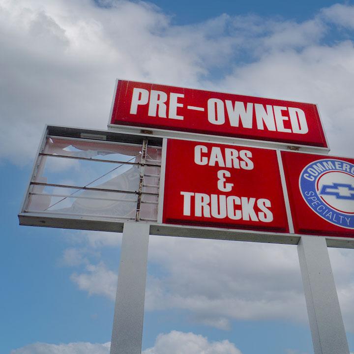 Broken Chevrolet Commercial Sign