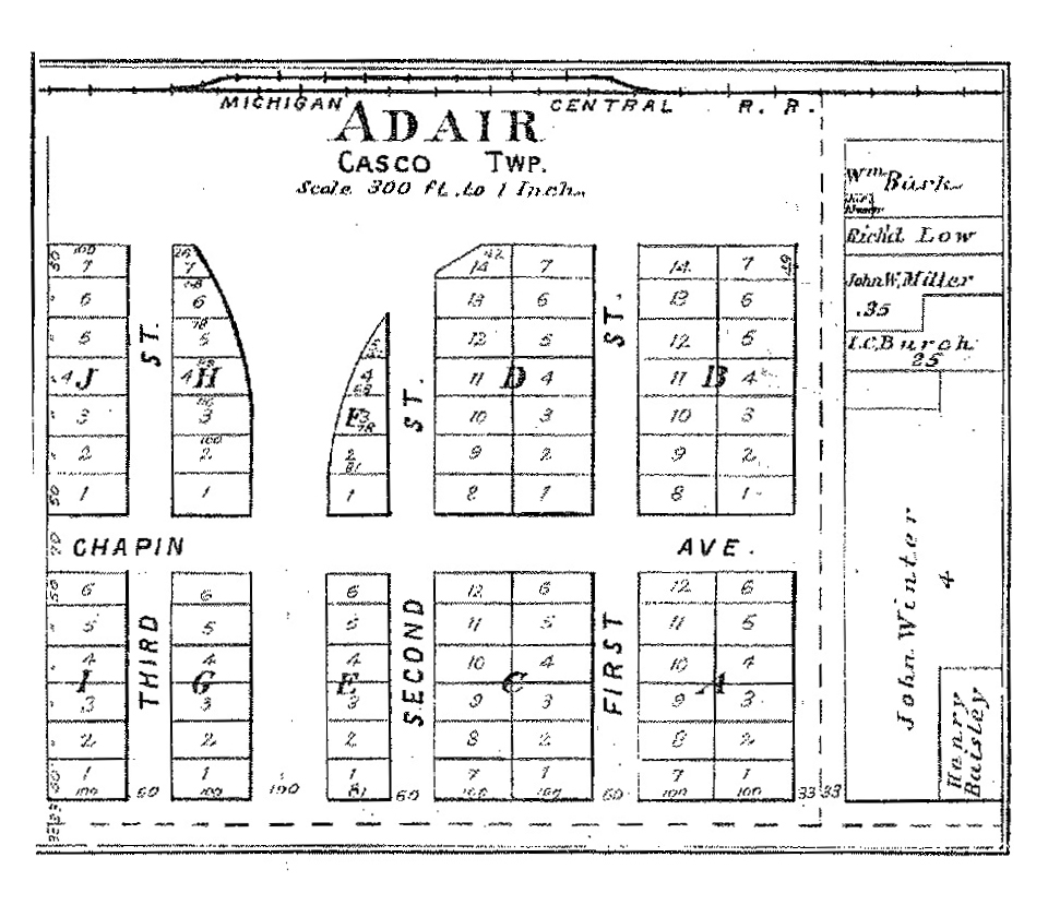 Adair Plat - Casco Township St Clair County Plat Atlas 1897