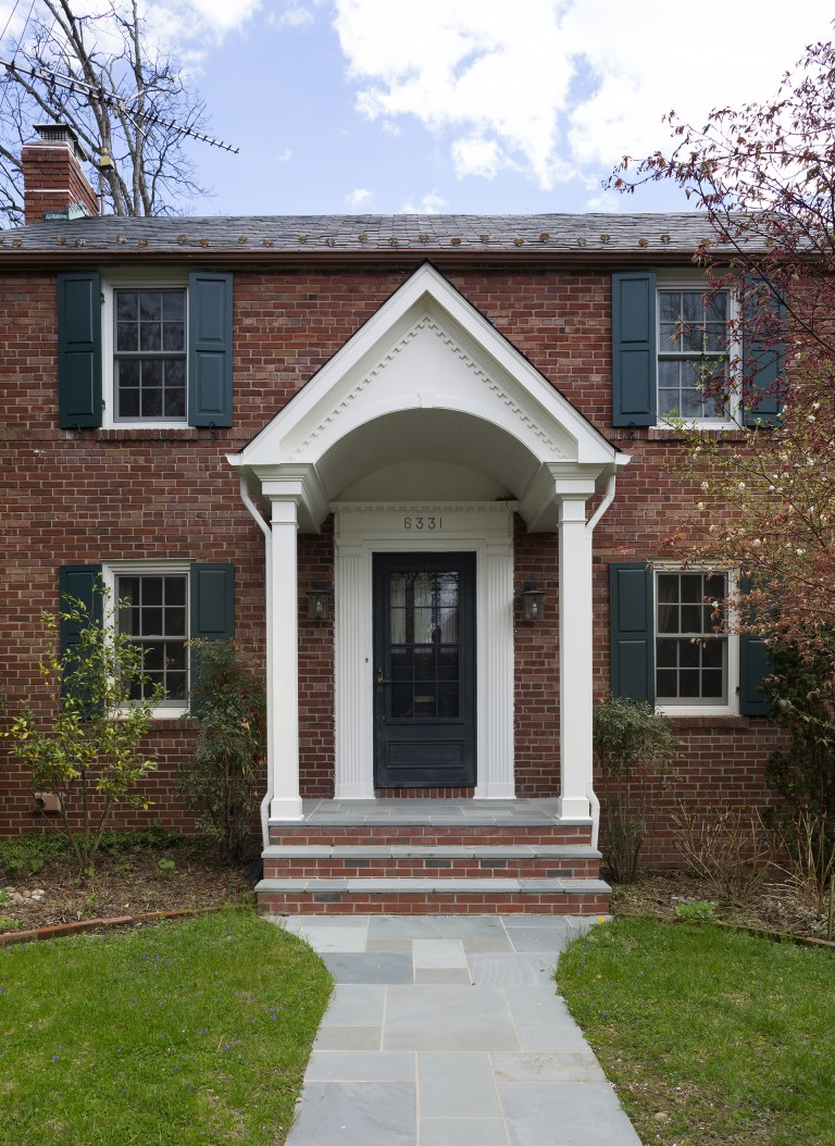 updated front entryway on traditional DC home
