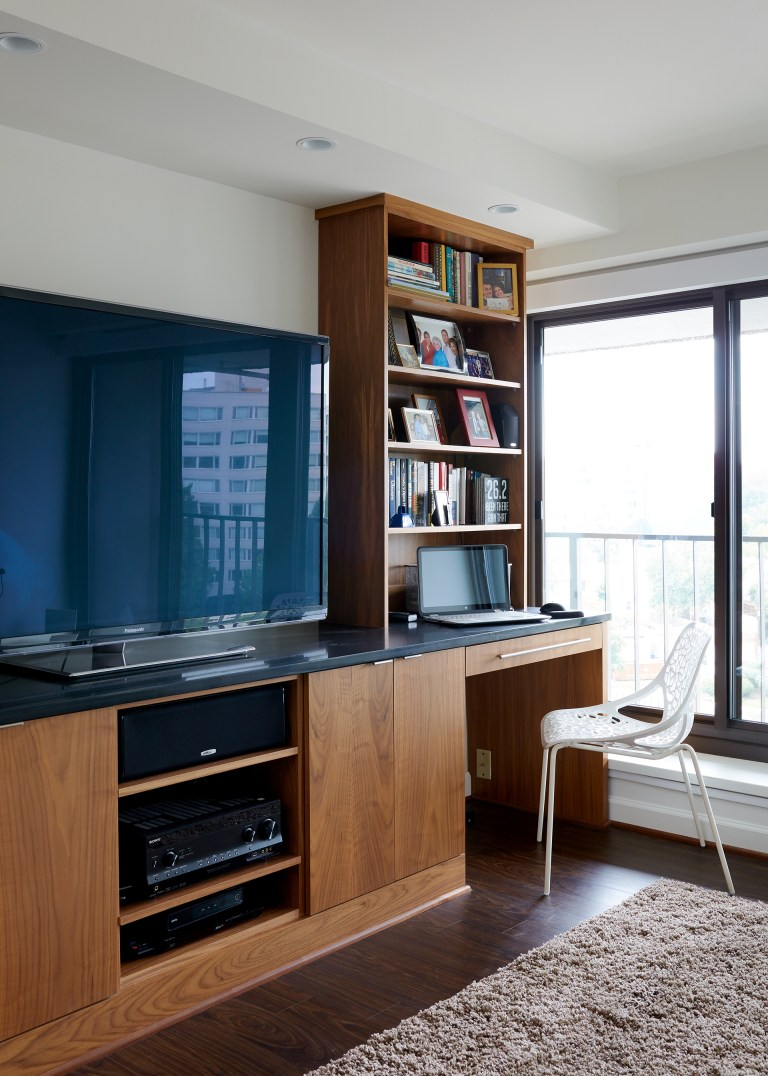 built in entertainment center and desk medium stain wood