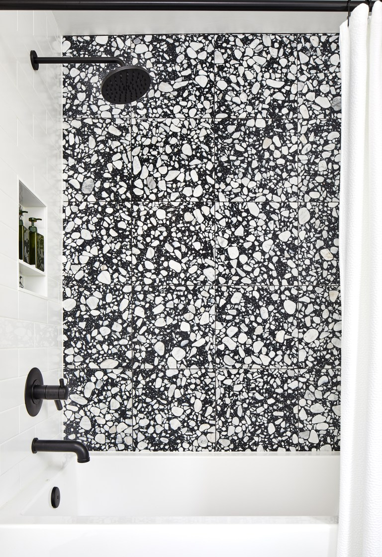 renovate bathroom in dc with black finish shower set faucet with bathroom tiles in black and white