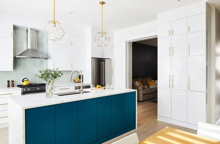 white and blue kitchen island