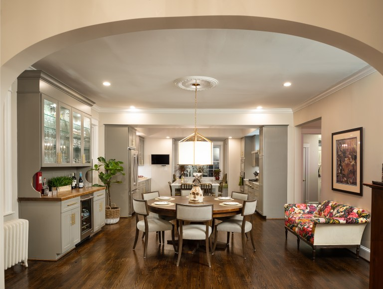 kitchen entrance with wide open arched doorway