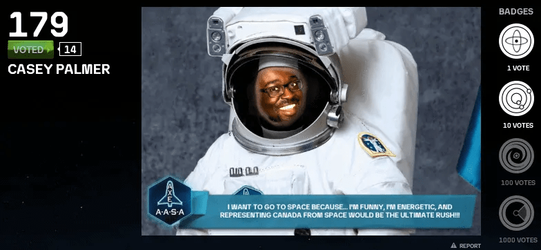 The picture of me on the AXE Apollo Space Academy contest voting site.