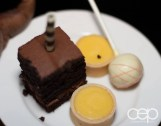 Dark chocolate fudge cake, cheesecake lollipop and lemon tarts