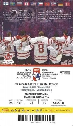2015 IIHF World Junior Championship — Quarter Final 4 Ticket