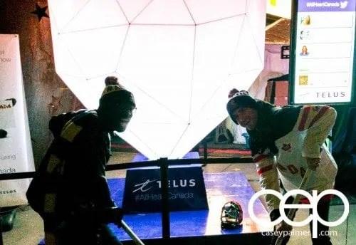 TELUS #AllHeartCanada — 2015 IIHF World Junior Championship — Canada vs Denmark Quarterfinal — Casey Palmer and Joel Levy Face Off at the TELUS Hockey Canada Fan Zone!!!