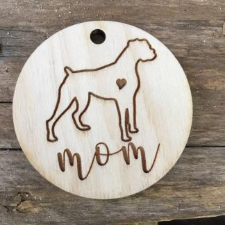 boxer dog wooden keychain