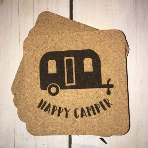 Happy Camper cork coasters