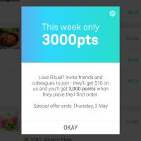 Ritual offering current users 3,000 points for referring new users through May 2nd!
